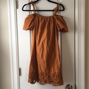 Madewell ochre lace off the shoulder dress